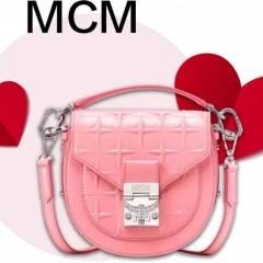 mcm 2020情人节特别款 粉色漆皮马鞍包