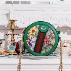 gucci flora 2020花卉系列圆饼链条包