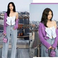明星造型 香芋紫色香奈儿迷你盒子包