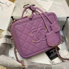款式欣赏 香芋紫色的香奈儿化妆包 盒子包